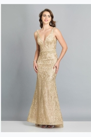 Dave and Johnny Gold Embroidered Gown - Product Mini Image