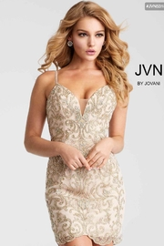 Jovani Gold Embroidered Mini - Product Mini Image