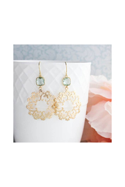 The Birds Nest Gold Filigree and Aqua Glass Earrings - Front cropped