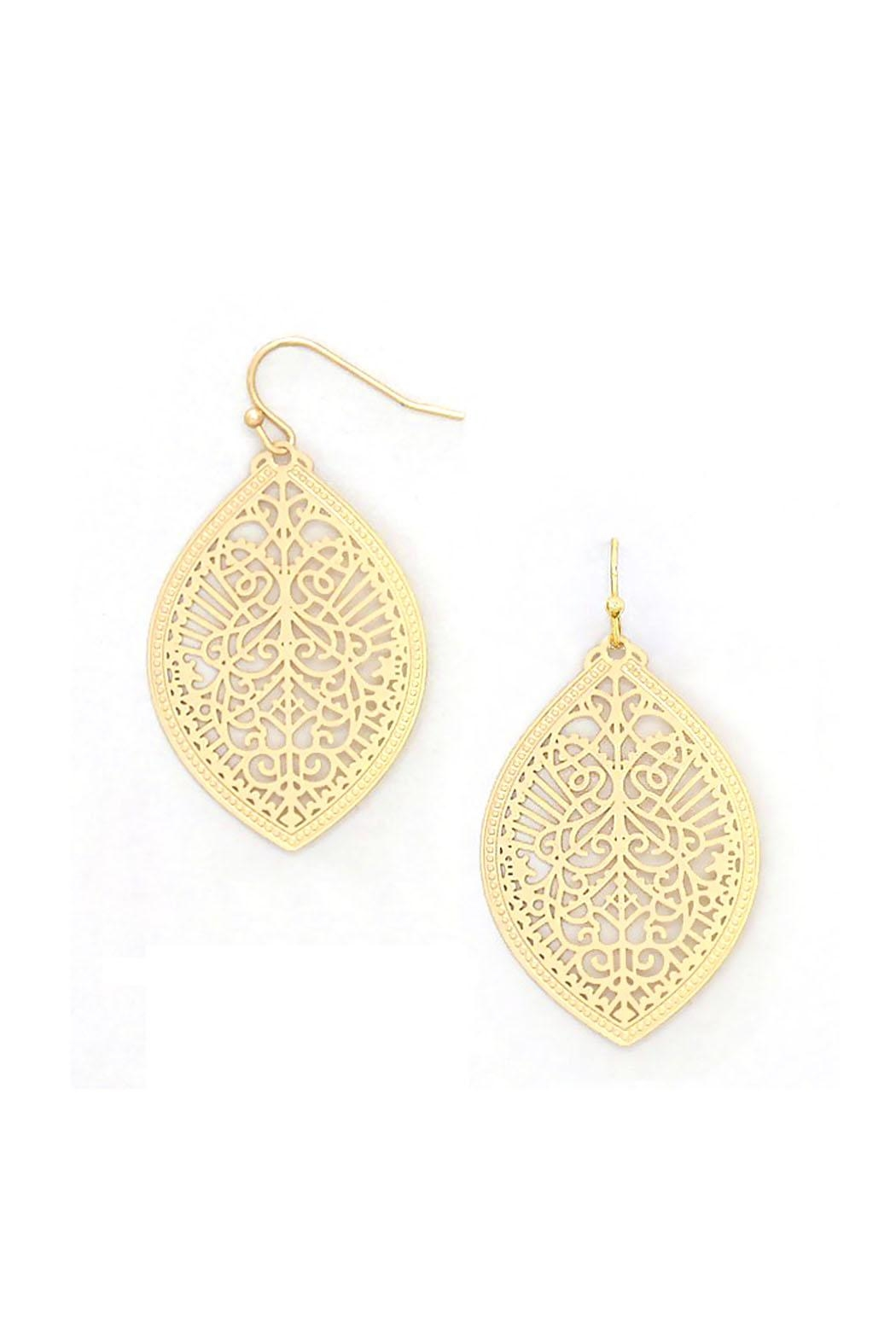 Wild Lilies Jewelry  Gold Filigree Earrings - Front Full Image