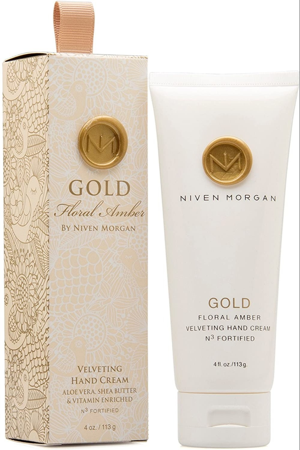 Niven Morgan Gold Floral Amber Velveting Hand Cream 4 oz - Main Image