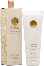 Niven Morgan Gold Floral Amber Velveting Hand Cream 4 oz - Front cropped
