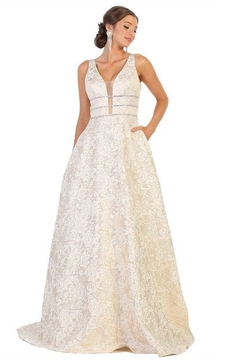 May Queen  Gold Floral Embossed Bridal Ball Gown - Alternate List Image