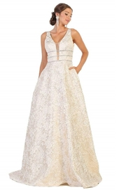 May Queen  Gold Floral Embossed Bridal Ball Gown - Front cropped