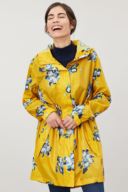 Joules Gold Floral Packaway Rain Jacket - Product Mini Image