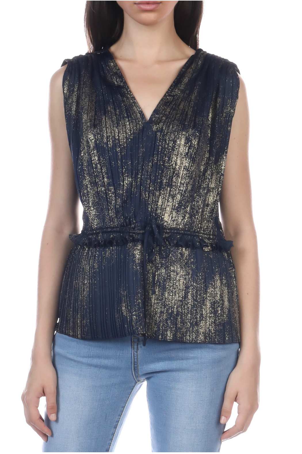 Current Air Gold foil pleated sleeveless top - Main Image