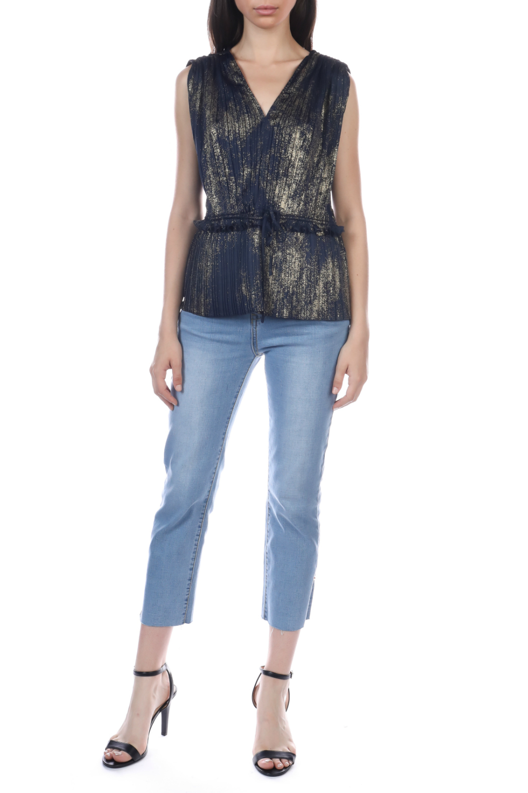 Current Air Gold foil pleated sleeveless top - Front Full Image