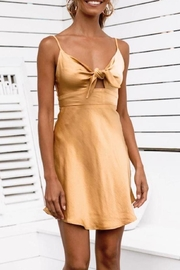 Selfie Leslie Gold Front-Tie Dress - Product Mini Image