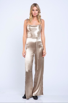 Shoptiques Product: Gold Front-Tied Jumpsuit