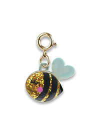 Charm It Gold Glitter Bee Charm - Front cropped