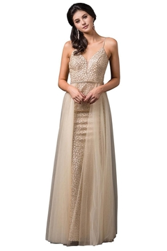 Shoptiques Product: Gold Glitter Bridal Gown With Tulle Overskirt