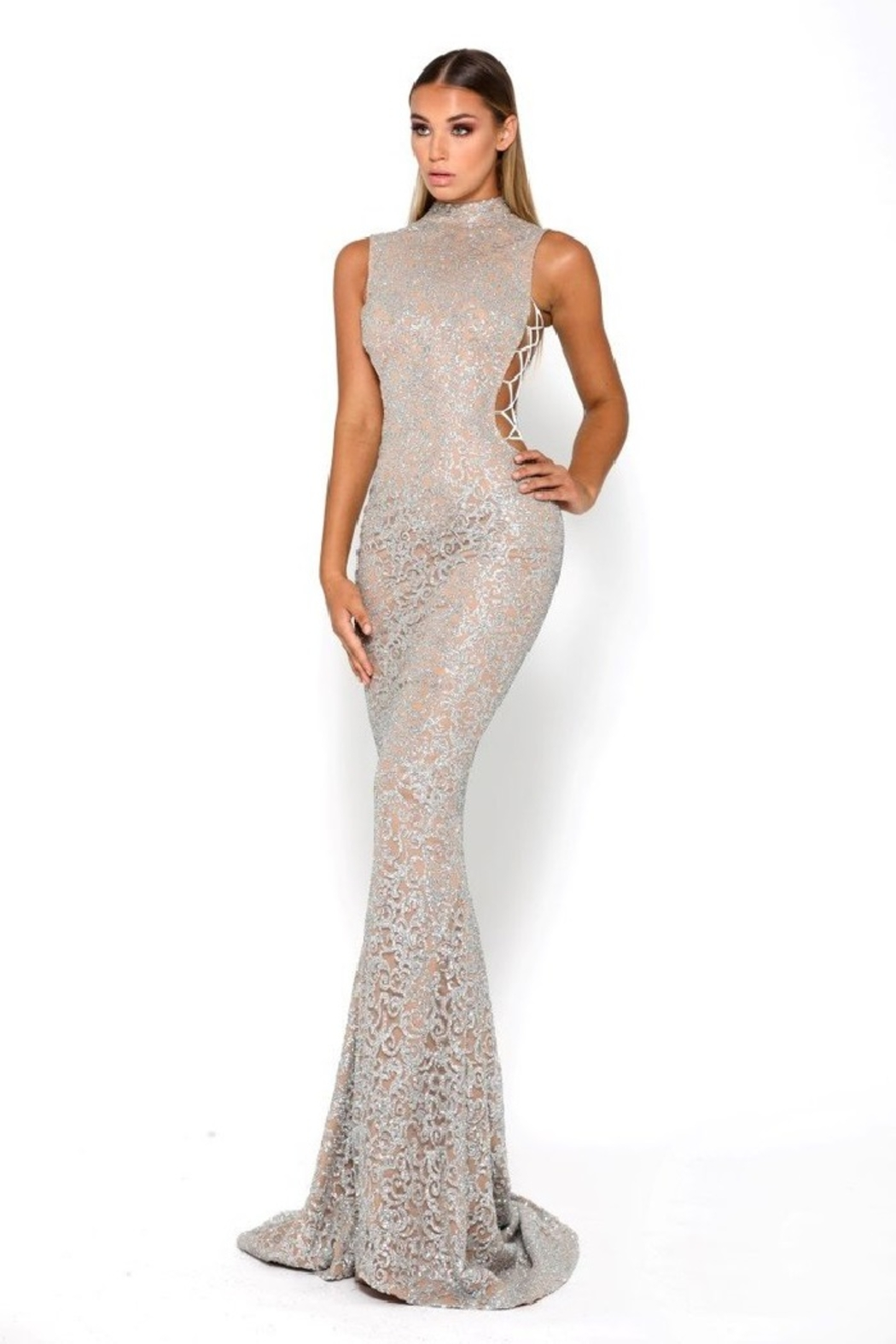 PORTIA AND SCARLETT Gold Glitter Fit & Flare Long Formal Dress - Main Image