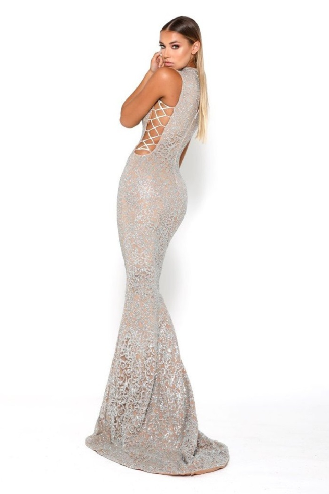 PORTIA AND SCARLETT Gold Glitter Fit & Flare Long Formal Dress - Side Cropped Image