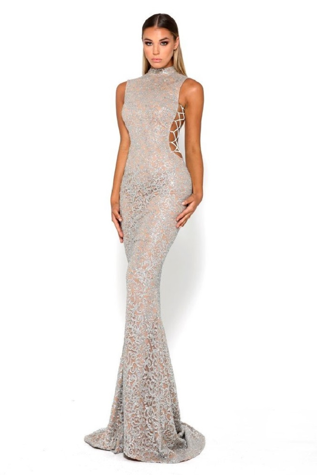 PORTIA AND SCARLETT Gold Glitter Fit & Flare Long Formal Dress - Front Full Image