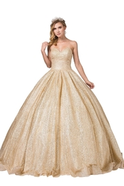 DANCING QUEEN Gold Glitter Strapless Ball Gown - Product Mini Image