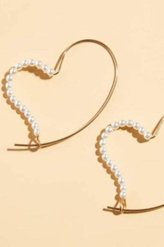 Koko and Lola  Gold Heart Pearl Accent Hoop Earrings - Product List Image