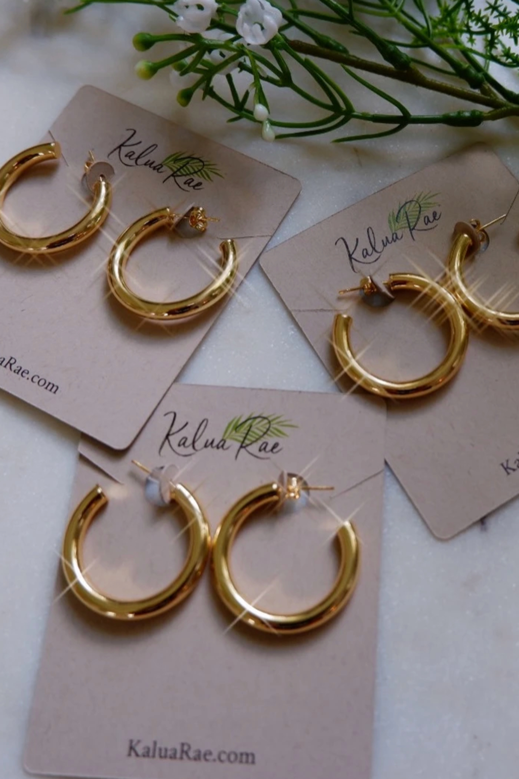 Kalua Rae Jewelry Gold Hoops - Front Cropped Image
