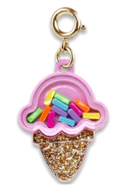 High Intencity Gold Ice Cream Cone Shaker Charm - Front cropped
