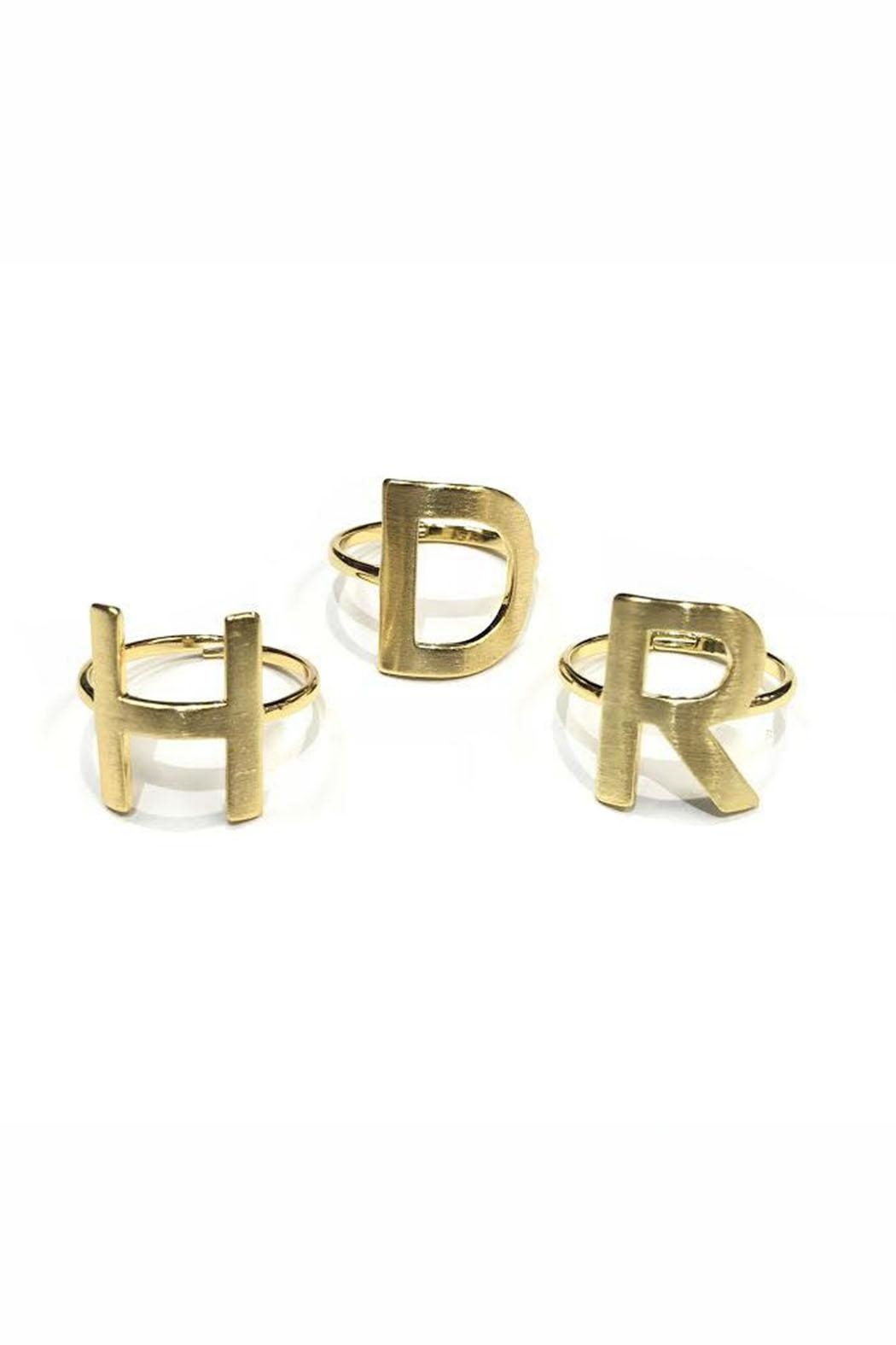 Lets Accessorize Gold Initial Rings - Main Image