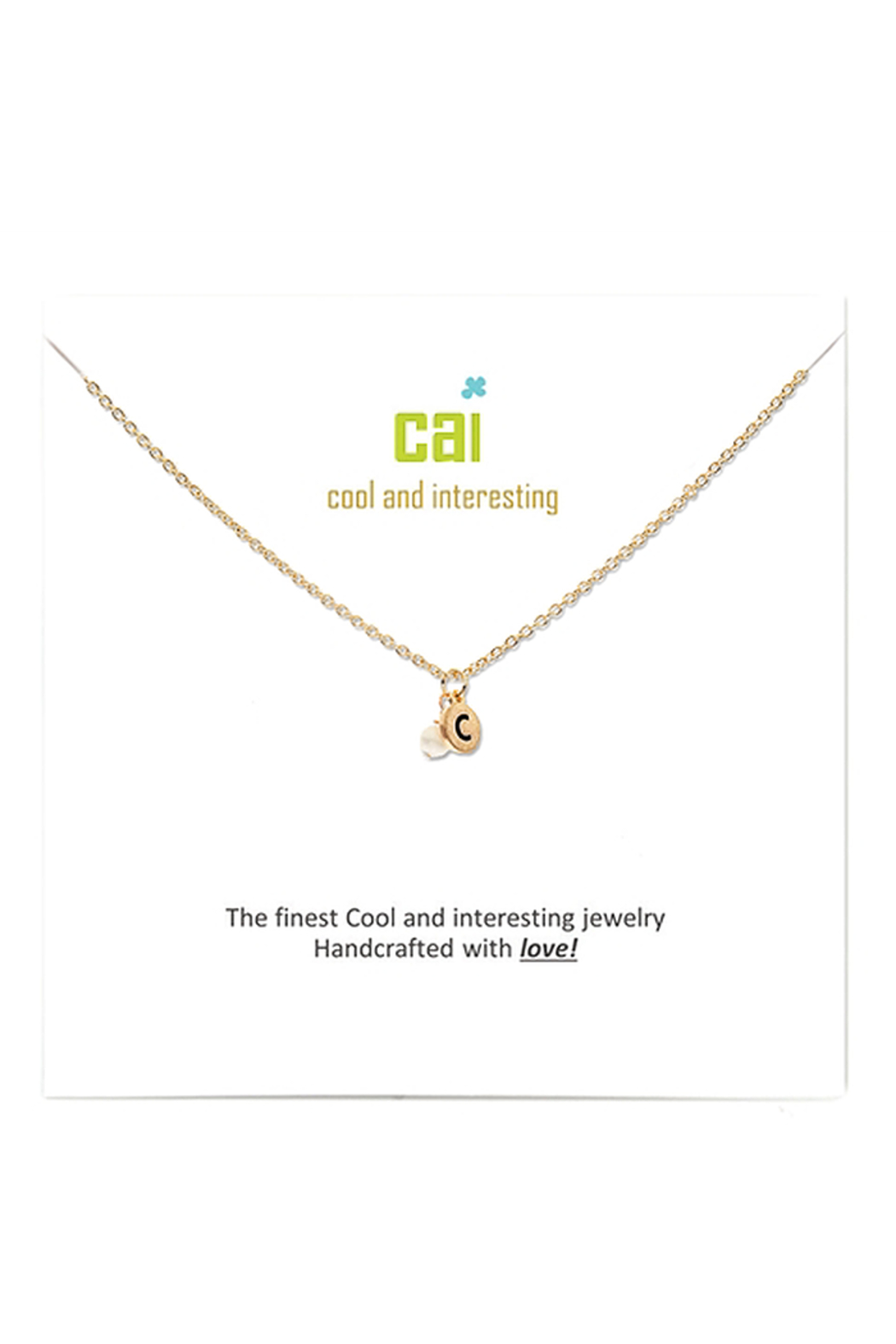 Cool and Interesting Gold Initial W/ Pearl Necklace - Side Cropped Image