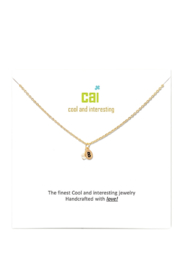 Cool and Interesting Gold Initial W/ Pearl Necklace - Front full body