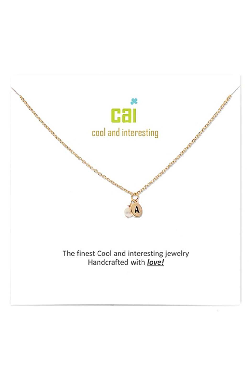 Cool and Interesting Gold Initial W/ Pearl Necklace - Main Image