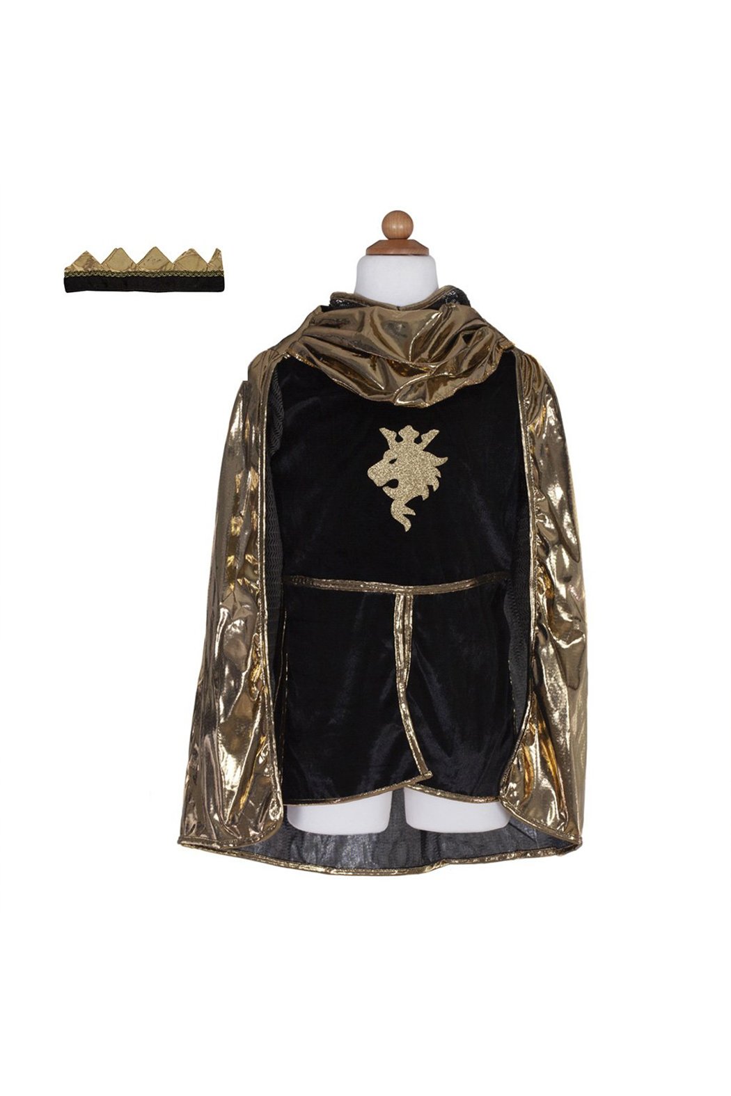 Great Pretenders  Gold Knight Tunic, Cape & Crown Set - Front Full Image