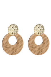 Liza's Jewelry  Gold Lattice with Bamboo Earrings - Front cropped