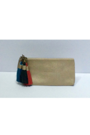DiJore Gold Leather Clutch with Removable Tassels - Product Mini Image