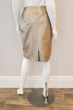 Ecru Gold Leather Pencil Skirt - Alternate List Image