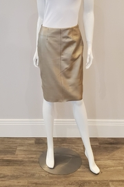 Ecru Gold Leather Pencil Skirt - Product Mini Image