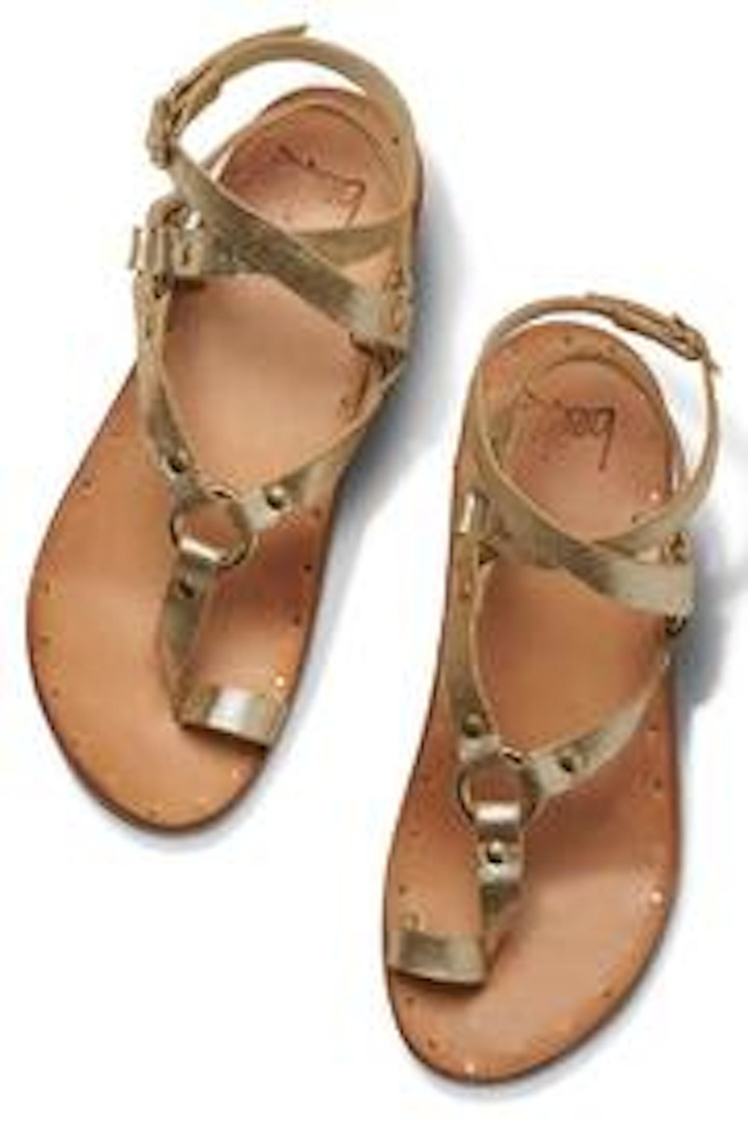 Beeko Gold Leather Sandal - Side Cropped Image