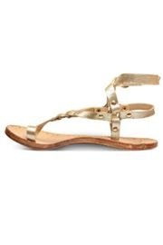 Beeko Gold Leather Sandal - Front cropped