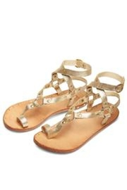 Beeko Gold Leather Sandal - Front full body