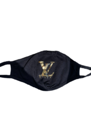 Bedford Basket Gold Louis Vuitton Drip Inspired Face Mask - Front cropped
