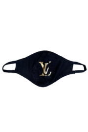 Bedford Basket Gold Louis Vuitton Inspired Face Mask - Front cropped