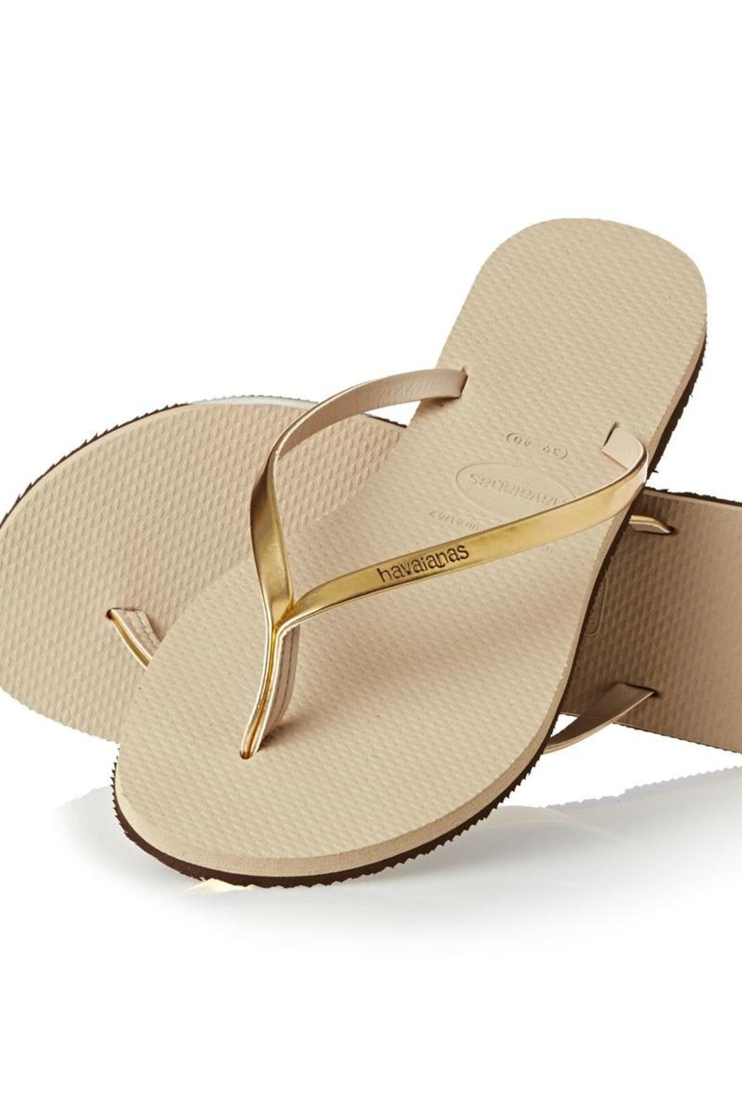 Havaianas Gold Metallic Flipflops - Front Cropped Image