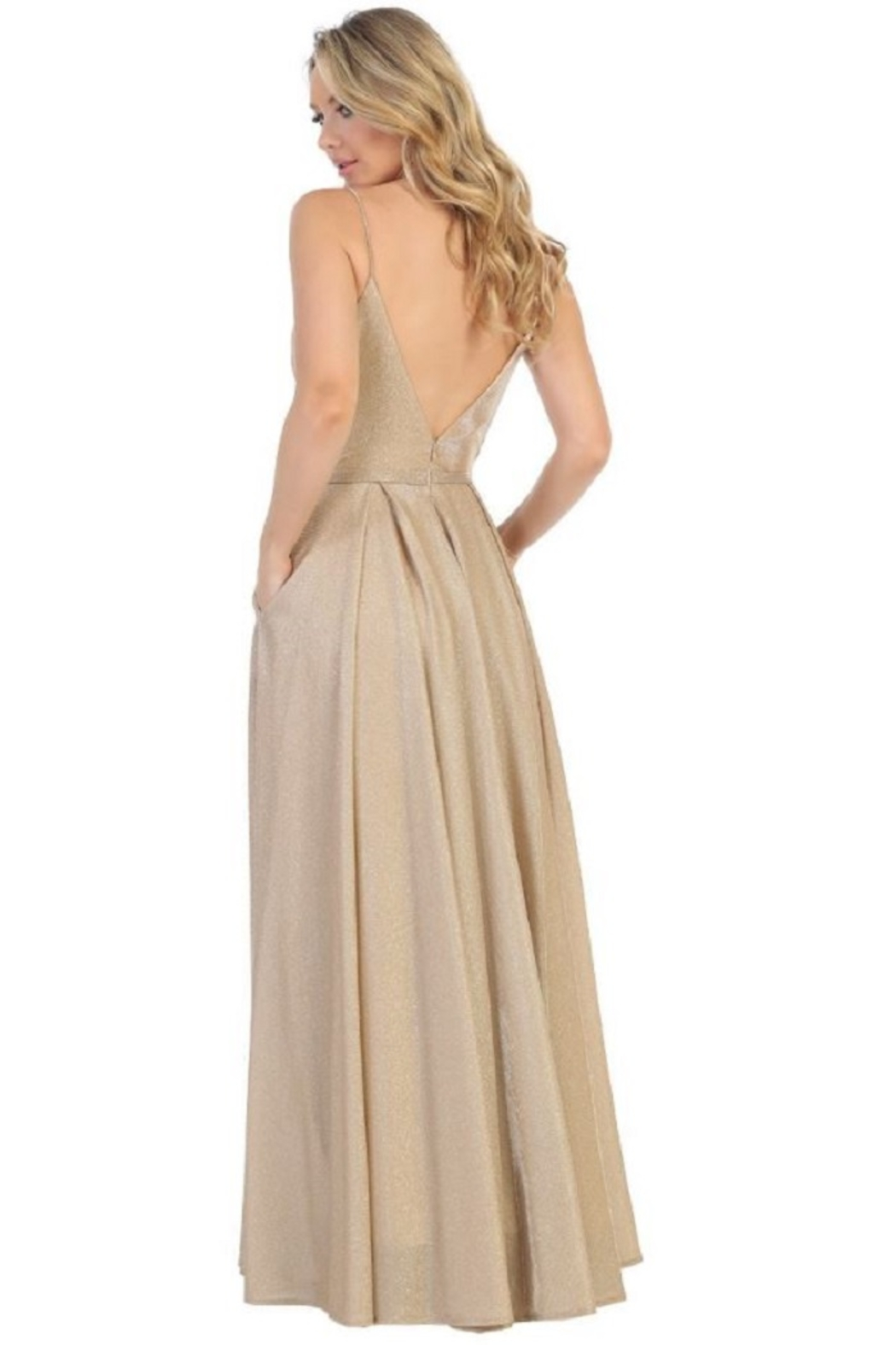 Let's Gold Metallic Pleated Formal Long Dress - Front Full Image