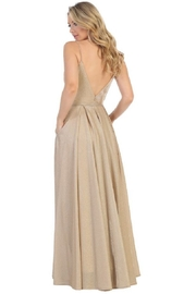 Let's Gold Metallic Pleated Formal Long Dress - Front full body