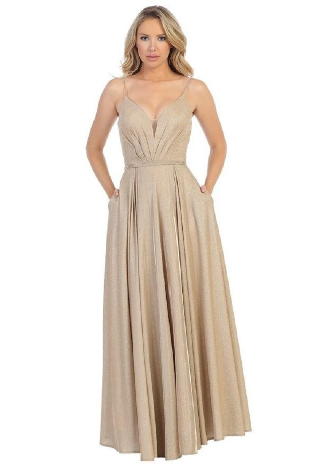 Let's Gold Metallic Pleated Formal Long Dress - Main Image