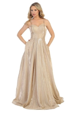 Let's Gold Metallic Sweetheart Formal Long Dress - Product List Image