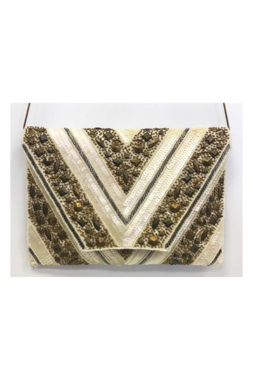 Ricki Designs Gold Metallic V Design Clutch - Main Image