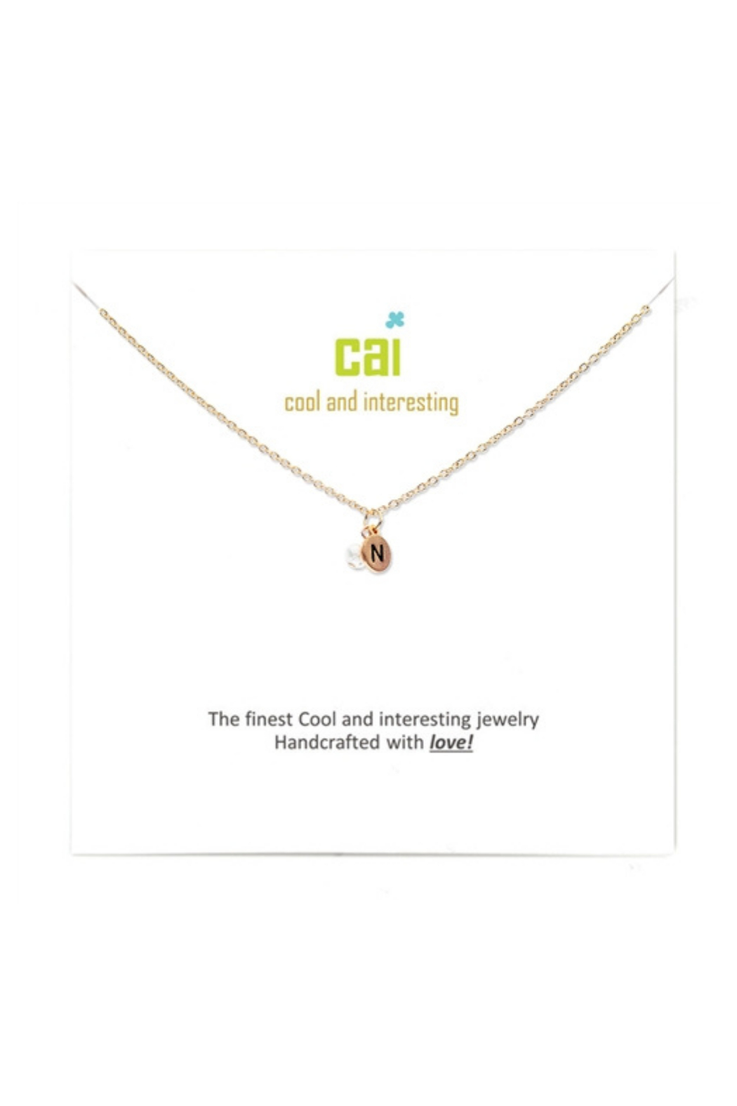 Cool and Interesting Gold Mini initial & pearl necklace - Front Cropped Image