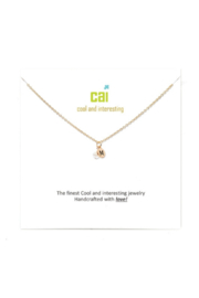 Cool and Interesting Gold Mini initial & pearl necklace - Front cropped