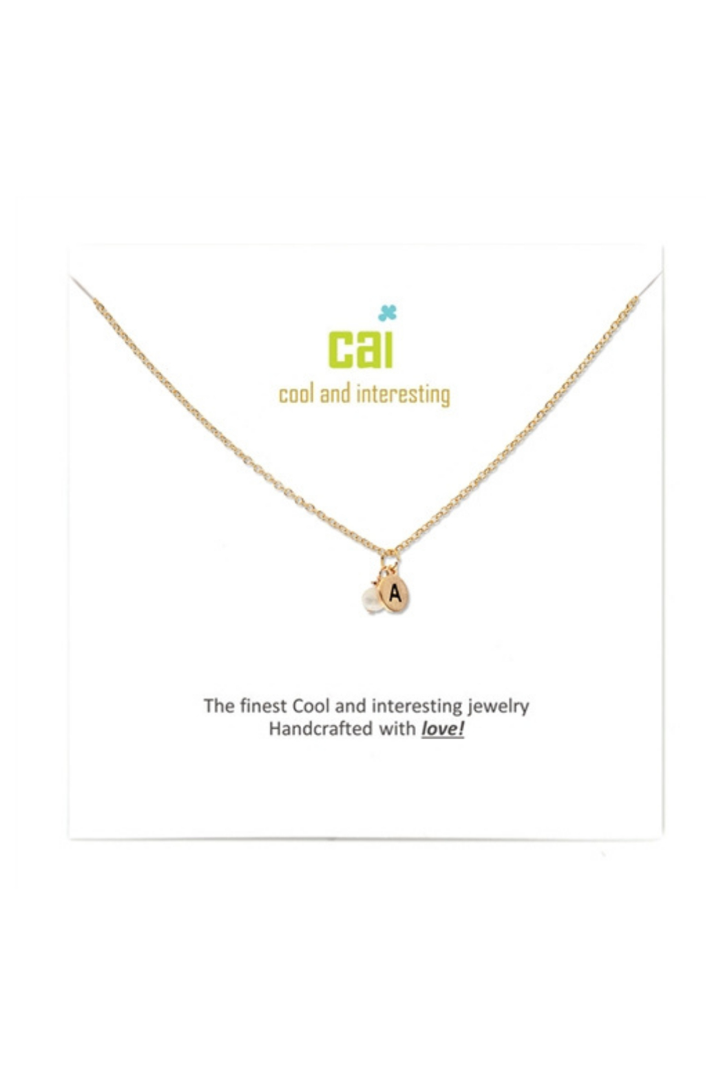 Cool and Interesting Gold Mini initial & pearl necklace - Main Image