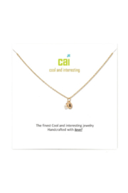 Cool and Interesting Gold Mini initial & pearl necklace - Front full body