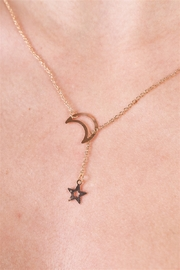 The Emerald Fox Boutique Gold Moon & Star Chain Open Necklace - Product Mini Image