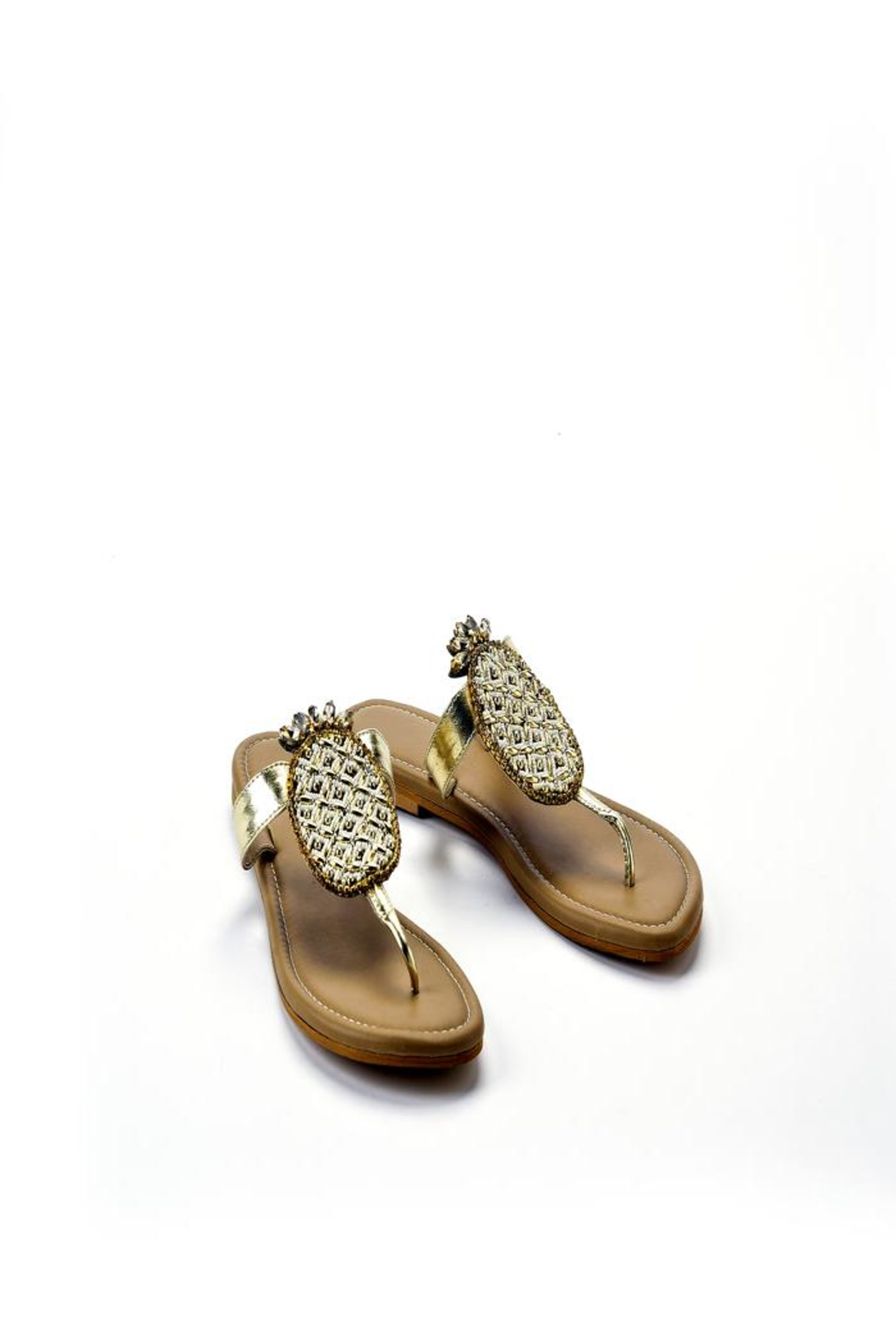 Charlie Paige Gold Pineapple Sandals - Front Full Image