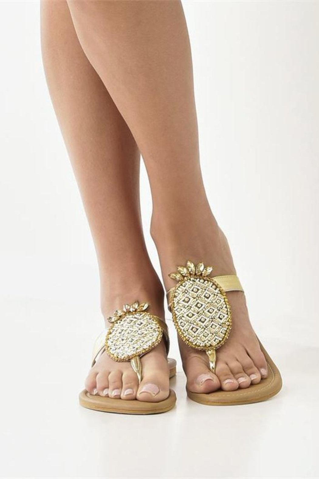 Charlie Paige Gold Pineapple Sandals - Main Image