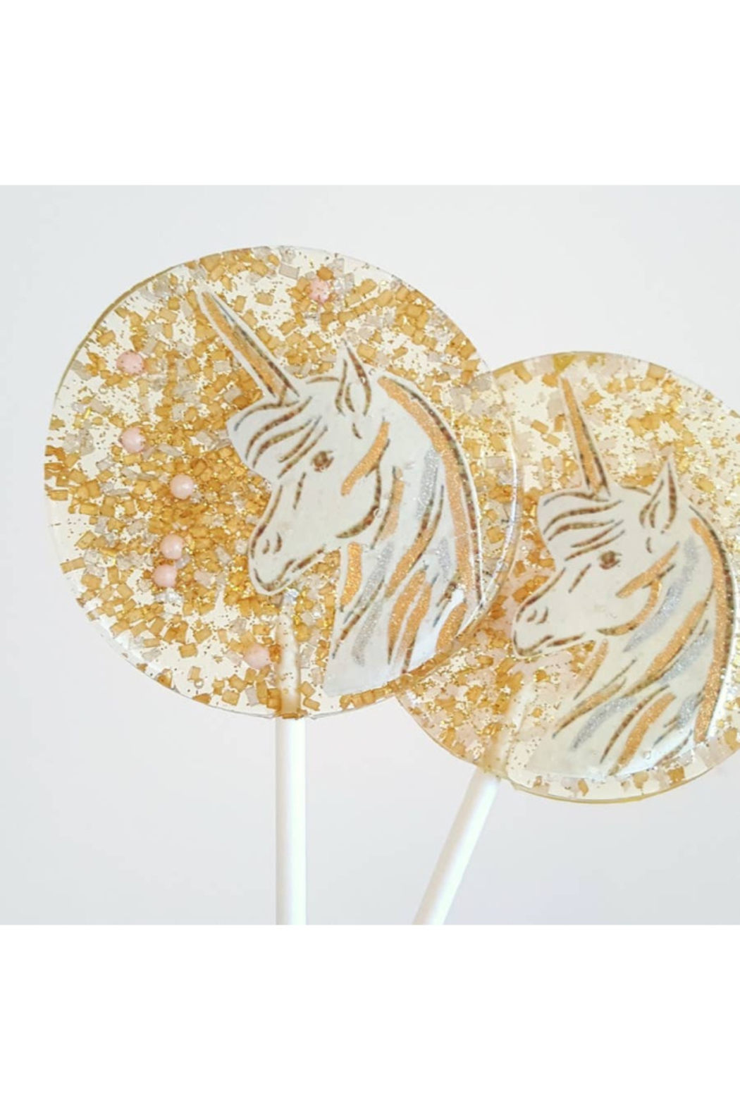 The Birds Nest GOLD & PINK UNICORN LOLLIPOPS - Front Cropped Image